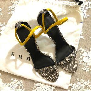 Sandro Paris Snakeskin Leather Sandals Suede Strap